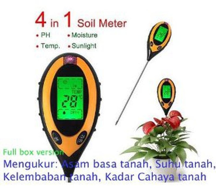 Soil Survey 4 in 1 - Ph Meter tanah digital Tester Moisture Light Su