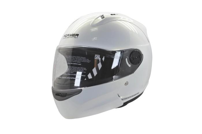 harga Cargloss devil former flip up horn helm modular full face - white gold - size m Tokopedia.com