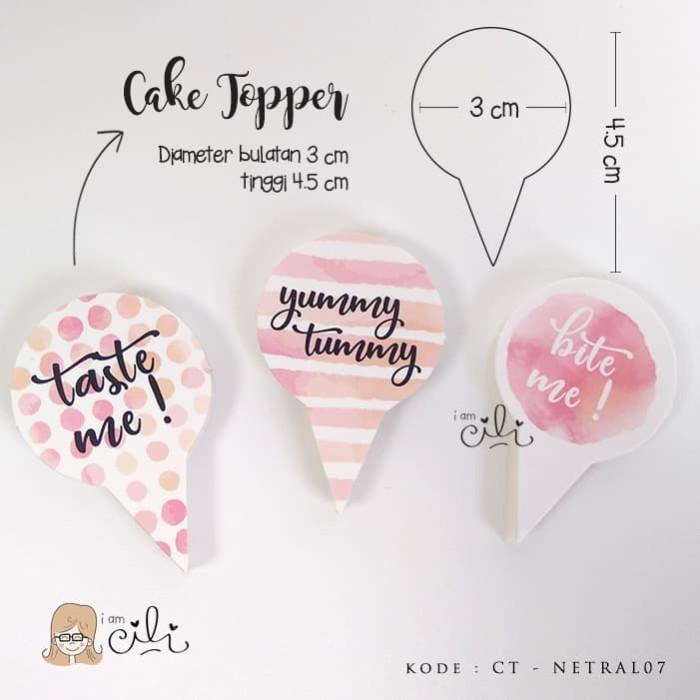 Foto Produk (TOPER netral07) cake topper penghias kue lucu dan unik pink dari i am CiLi