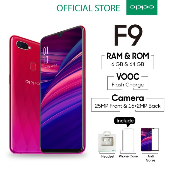 Oppo F9 Smartphone 6gb/64gb Sunrise Red ( Garansi Resmi Oppo ) - Blanja.com