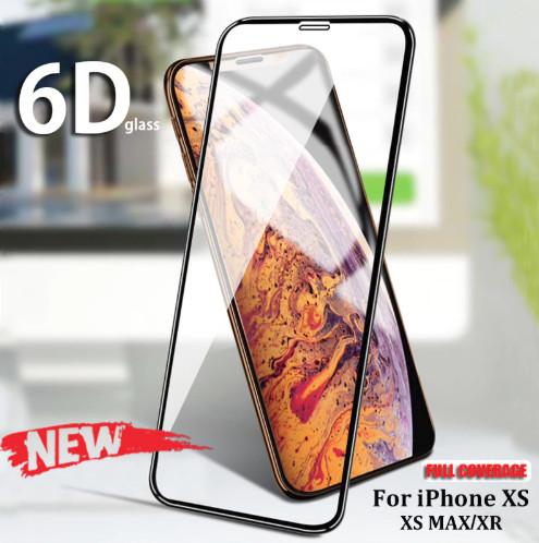 Foto Produk Tempered Glass Full Curved Curve 6D iPhone Xs Max iPhone Xs iPhone Xr - Hitam, iPhone Xs Max dari Allforgadget