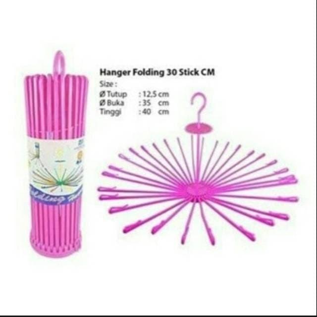 Foto Produk Hanger Folding 30 Stick Gantungan Jemuran Baju Bulat - Biru dari EJO SHOP