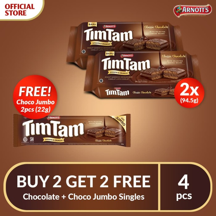 BUY 2 GET2 FREE Tim Tam Chocolate+Tim Tam Choco Jumbo Singles-FS