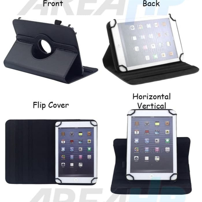 Universal Rotate Leather Flip Cover Case Casing Tablet Tab 10 Inch - Hitam