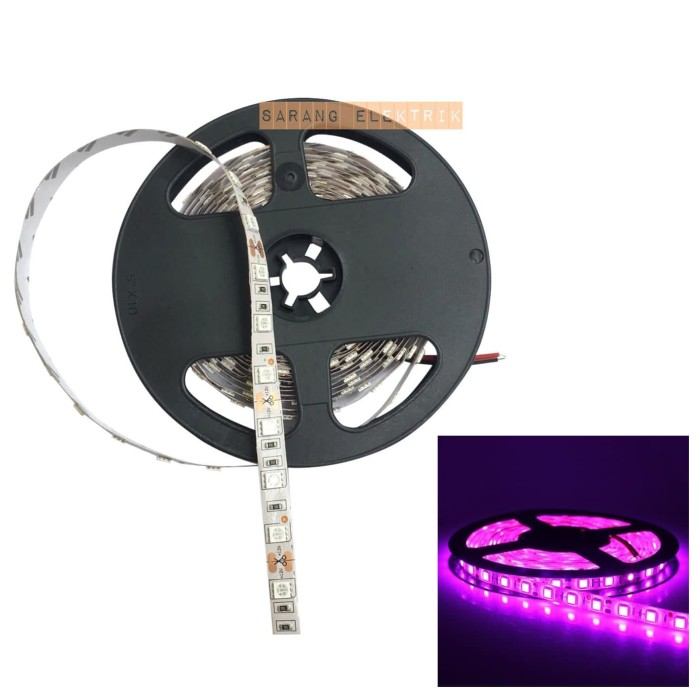 Foto Produk LED strip 5050 12v ungu pink purple IP33 INDOOR dari GrosirAksesorisFashion