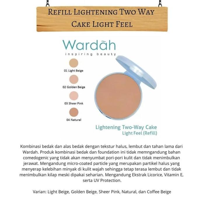 Bedak Wardah Refill Lightening TWC Two Way Cake - Light Feel Isi Ulang