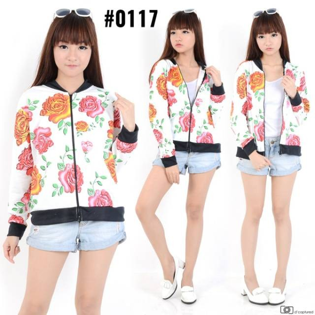 tokolobo jaket bomber flower rose 2 warna hitam dan putih