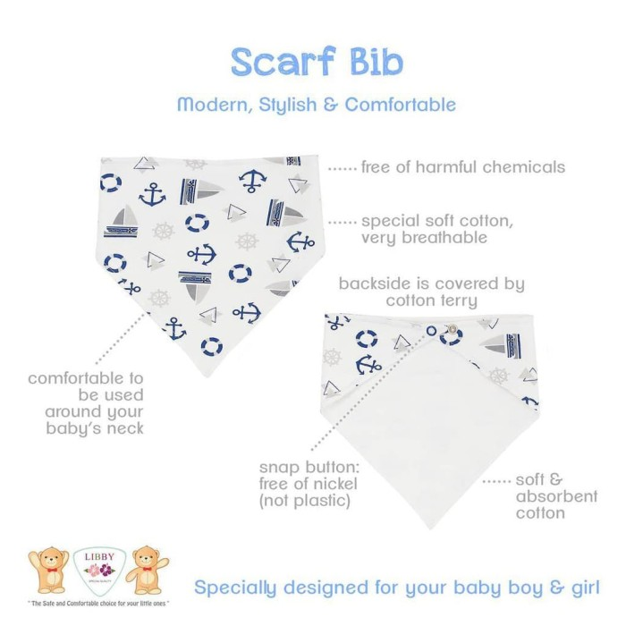 Libby Bib Scarf Bayi / Slaber Bayi Segitiga untuk Baby Murah