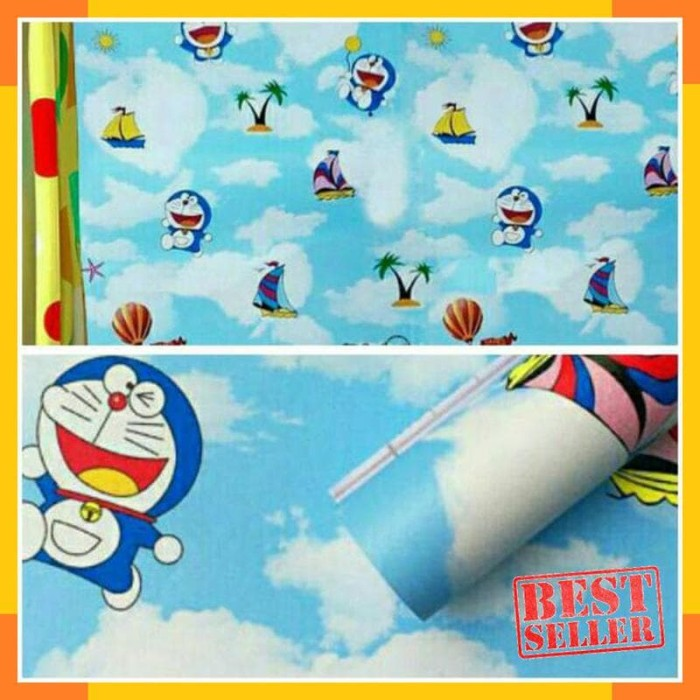 Jual Promo Wallpaper Sticker Dinding Kamar Anak Doraemon Awan Biru