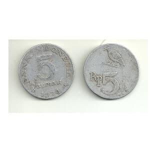 harga Uang Koin / Logam Lama / Kuno Lima Rupiah Bank Indonesia Tahun 1974 Tokopedia.com