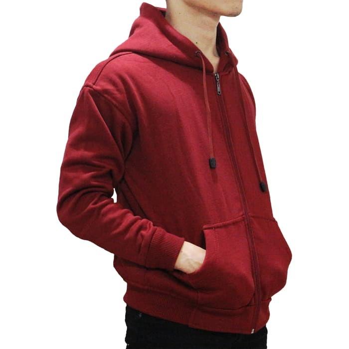 Promo Sweater Jaket Sweater Polos Hoodie Zipper Merah Maroon
