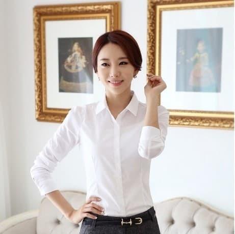 Kemeja Wanita Baju Kemeja Wanita Warna Putih Polos Lengan Panjang