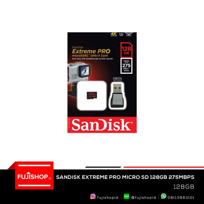 harga Sandisk extreme pro micro sd 4k (275mb/s) with usb 3.0 adapter 128gb Tokopedia.com
