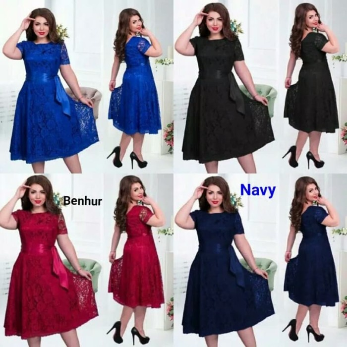 Jual Dress Pesta Jumbo Meli Dress Brukat Jumbo Xl Xxl Gaun Pesta