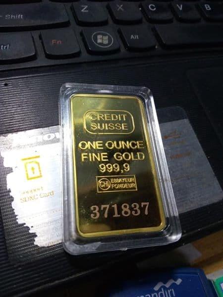 Jual Emas Batangan Replika Credit Suisse 1 Ons Bahan Logam