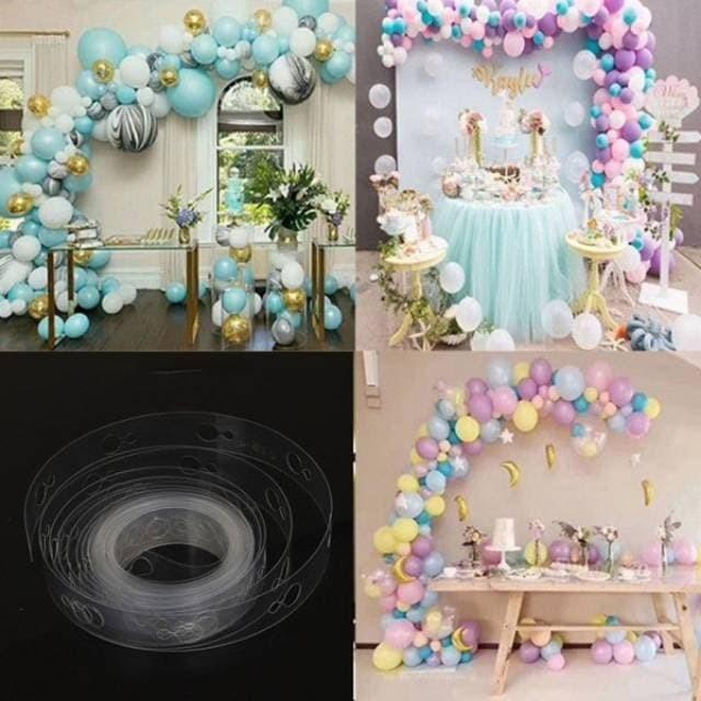 Foto Produk 1 Roll Panjang 5 meter Ballon Chain Tape Strip u/ Dekorasi Balon - double hole dari Pestaphoria