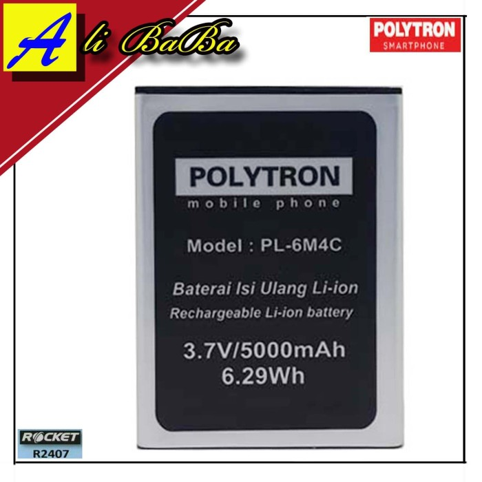 harga Baterai handphone polytron rocket r3 r2407 pl-6m4c pl-604 double power
