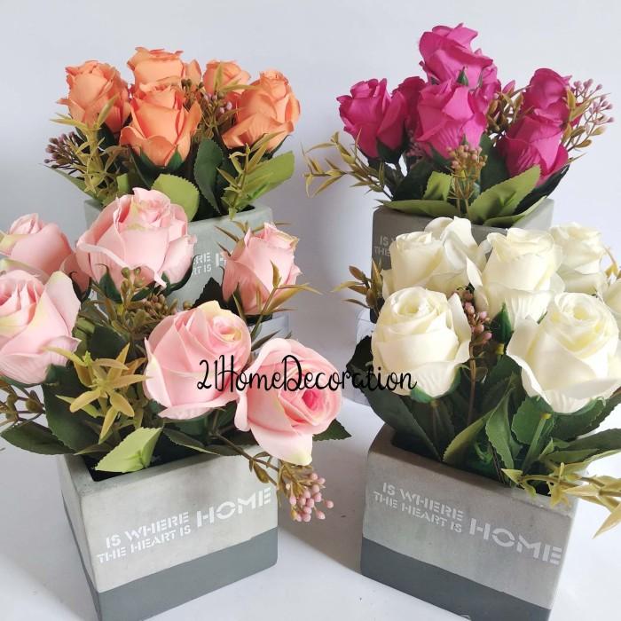 jual vas bunga mawar artificial pot kotak quote home dekorasi meja