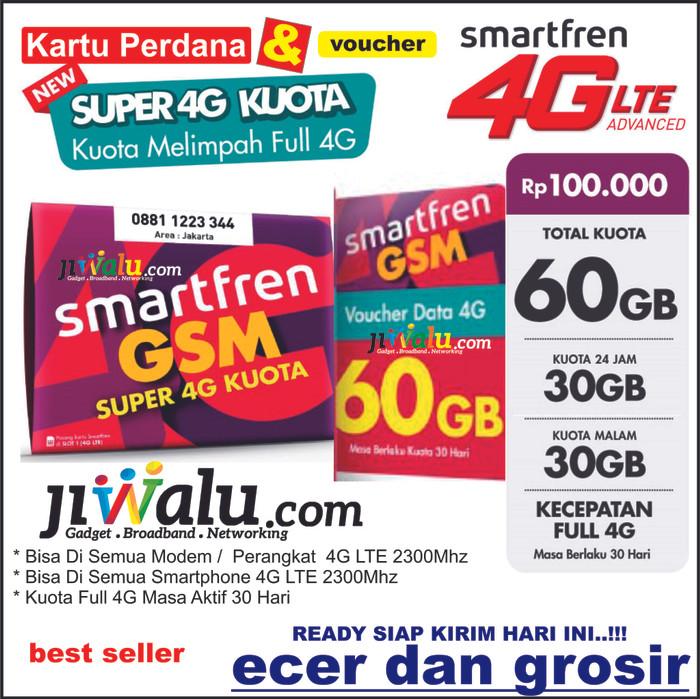 Jual Kartu Perdana Smartfren Kuota 60 GB | 60GB (30GB 24