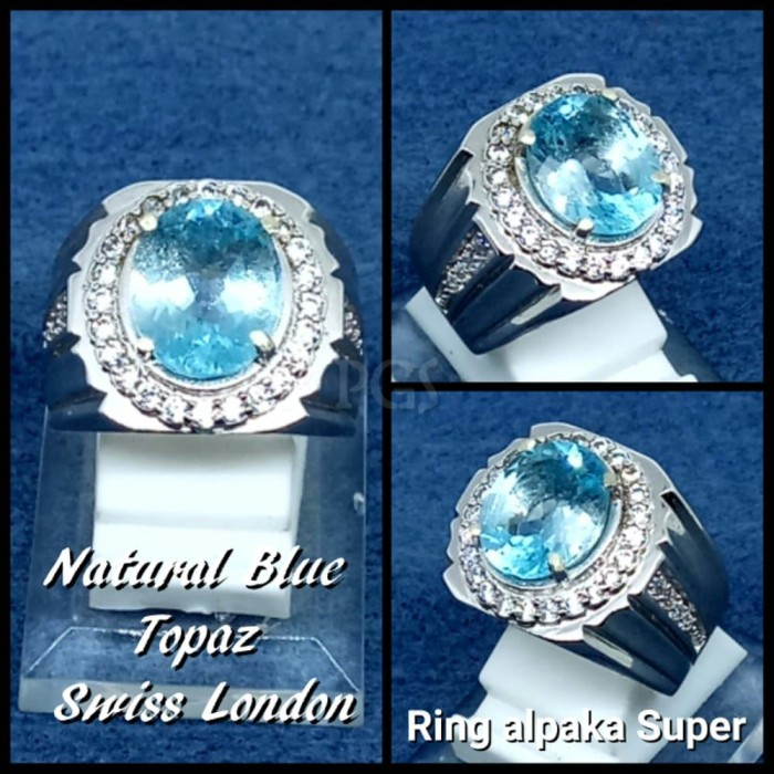 harga Cincin batu permata natural swiss blue topaz london ring alpaka Tokopedia.com