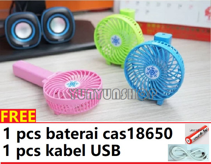 kipas angin cas portable / kipas lipat charger pegang tangan - Biru Muda