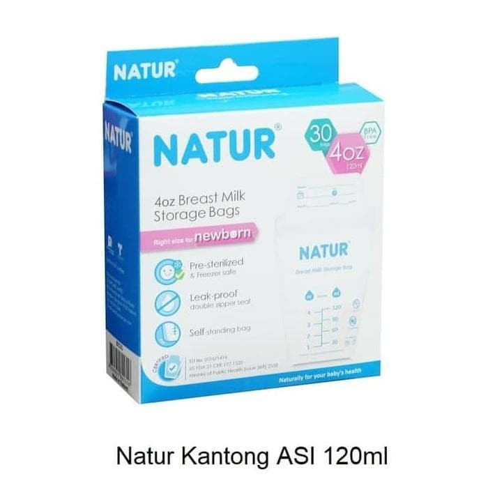 NATUR - KANTONG ASI 120ML (ISI 30 PCS) / BREASTMILK STORAGE BPA FREE