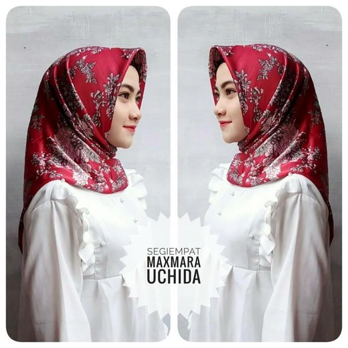 Hijab jilbab kerudung segiempat motif maxmara square bunga-bunga