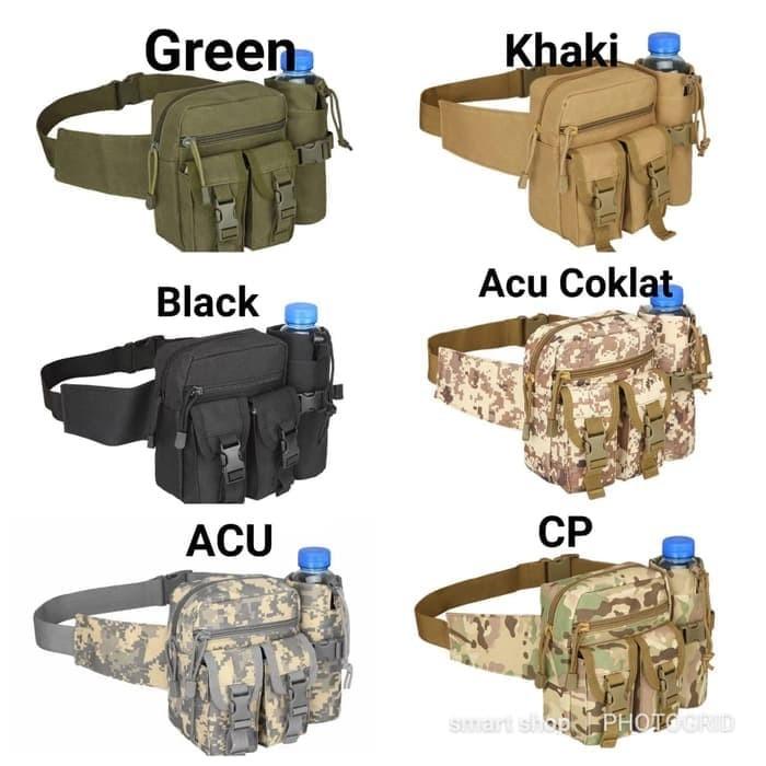 Tas Pinggang Tactical Army Dengan Tempat Botol - khaki - Acu Coklat