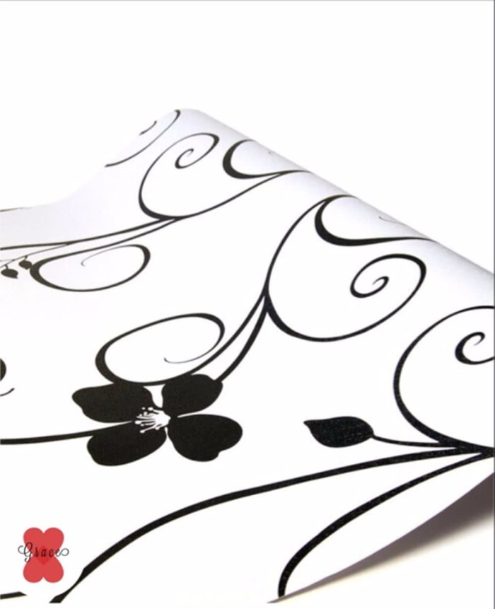 Jual Best Quality Terlaris Wallpaper Bunga Hitam Putih Salur Shaby 10 Mete Krembangan Wallpaper Keren Tokopedia