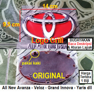 emblem grill logo depan toyota all new avanza veloz grand innova yaris dan lainnya merah