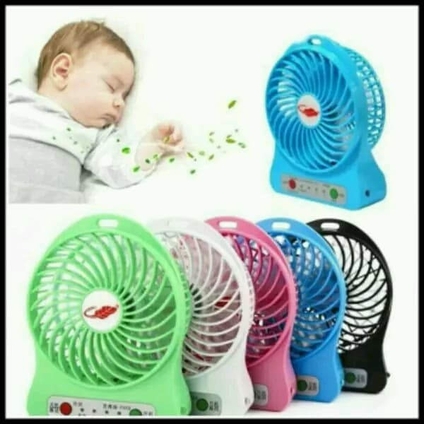 Kipas Angin original mini fan kecil charge Tangan Portable Recharger - Biru Muda