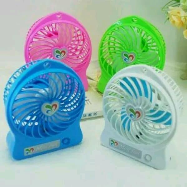 ... Kipas Angin original mini fan kecil charge Tangan Portable Recharger Biru Muda