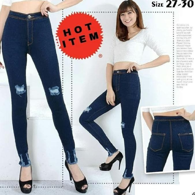 Jual Highwaist Ripped Tua Celana Jeans Wanita Kekinian Jeans Higwaist Jakarta Pusat Super Shoppp Tokopedia