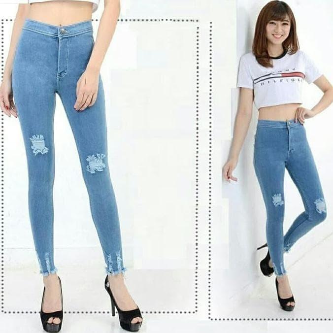 Jual Highwaist Ripped Muda Celana Jeans Wanita Kekinian Jeans Higwaist Jakarta Pusat Super Shoppp Tokopedia