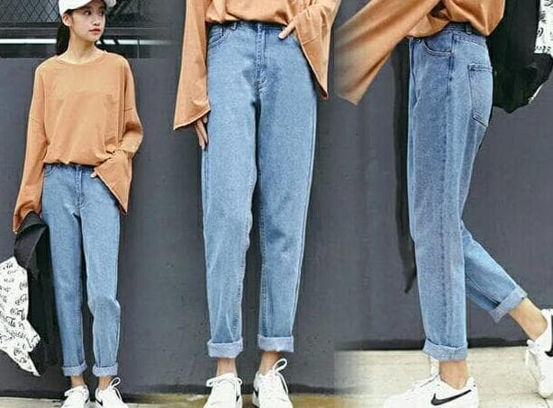 Jual Celana Boyfriend Plain Jeans Biru Muda Celana Jeans Cewek Kekinian Jakarta Pusat Super Shoppp Tokopedia