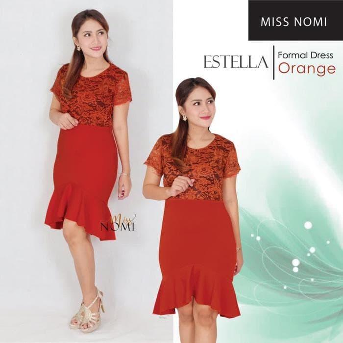 Jual Estella Dress Pesta Bahan Scuba Kombinasi Brokat Mewah Allsize