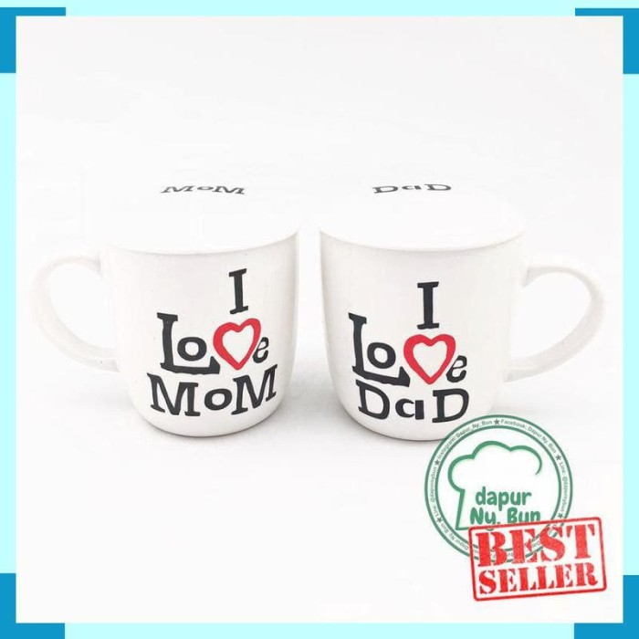 Mug Couple + Tutup I Love Dad / I Love Mom