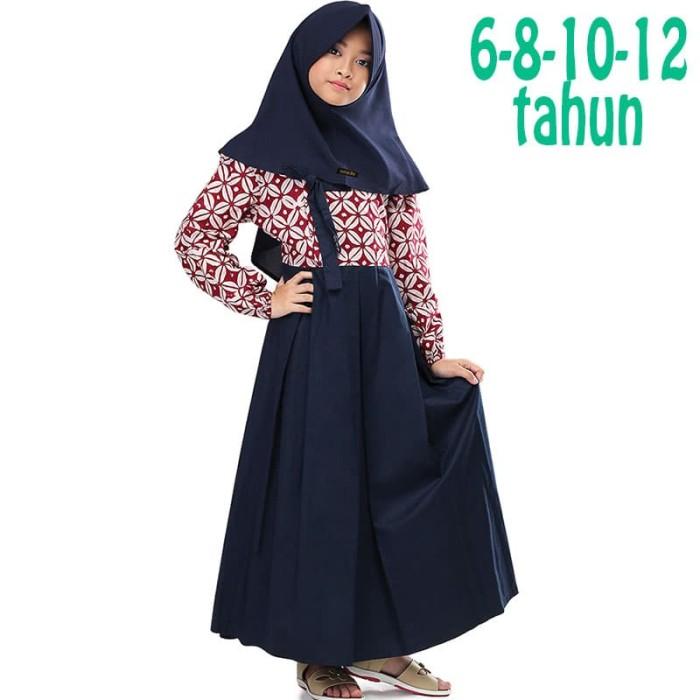 harga Baju muslim gamis anak perempuan batik merah biru navy 6 8 10 12 tahun Tokopedia.com