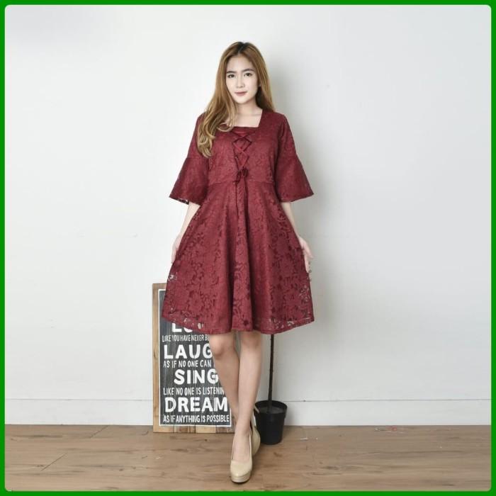 Jual Dress Wanita Modern Brokat Berkualitas Gaun Pesta Mewah Baju Kekinian Maroon Dki Jakarta Alfa Shop Accessories Tokopedia