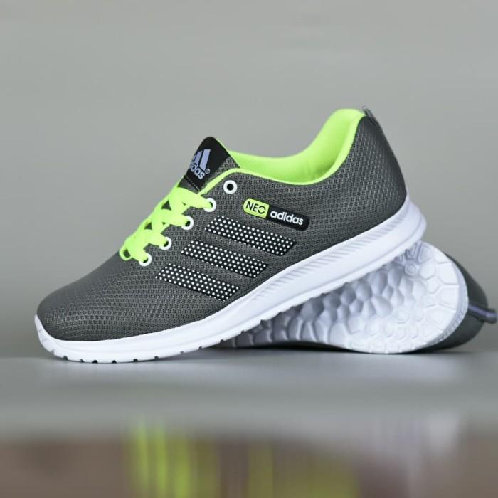 harga Sepatu sport olahraga casual pria adidas neo running abu abu stabilo Tokopedia.com