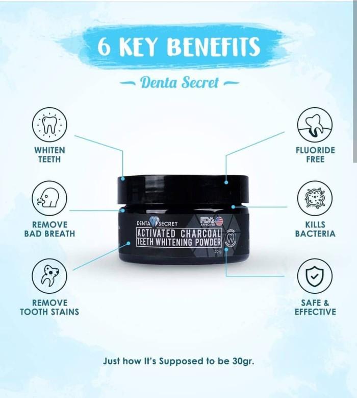 Denta Secret Charcoal Powder Pemutih Gigi + Free Bamboo Toothbrush