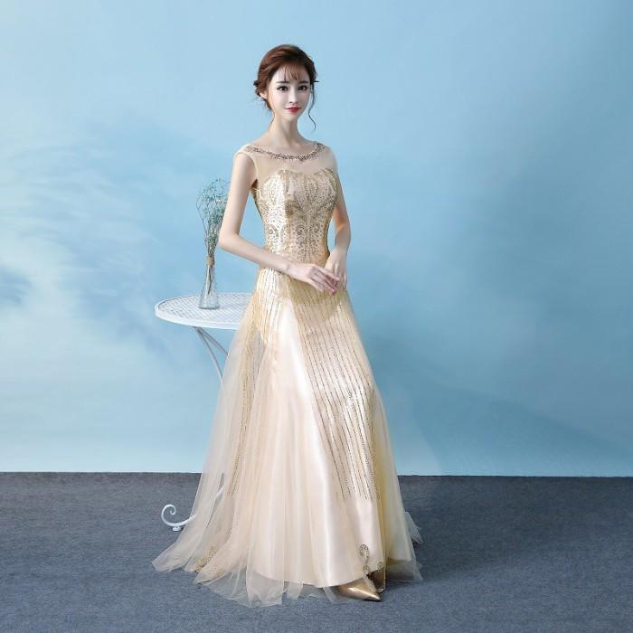 Jual Long Dress Maxi Sexy Warna Emas Untuk Pesta Pernikahan Malam