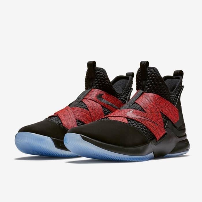 72918f181a7 Jual Sepatu Basket Nike Lebron Soldier XII Red Straps BRED Original ...