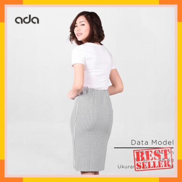 Sale Ada Fashion Rok Panjang Wanita Warna Putih Motif Kotak Hitam