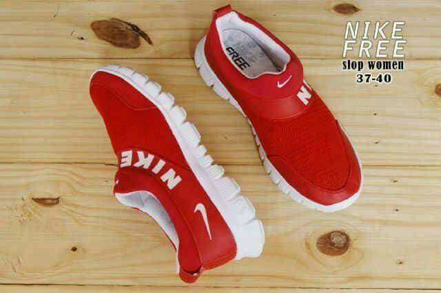 Free Bonus !! Sepatu Murah Women Running Nike Free Slop Red White - Merah