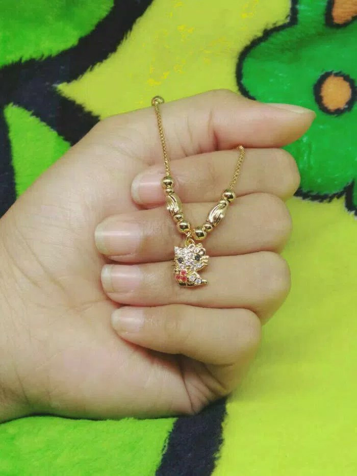 Home; Kalung anak hello kitty flower (xuping/perhiasan lapis emas)