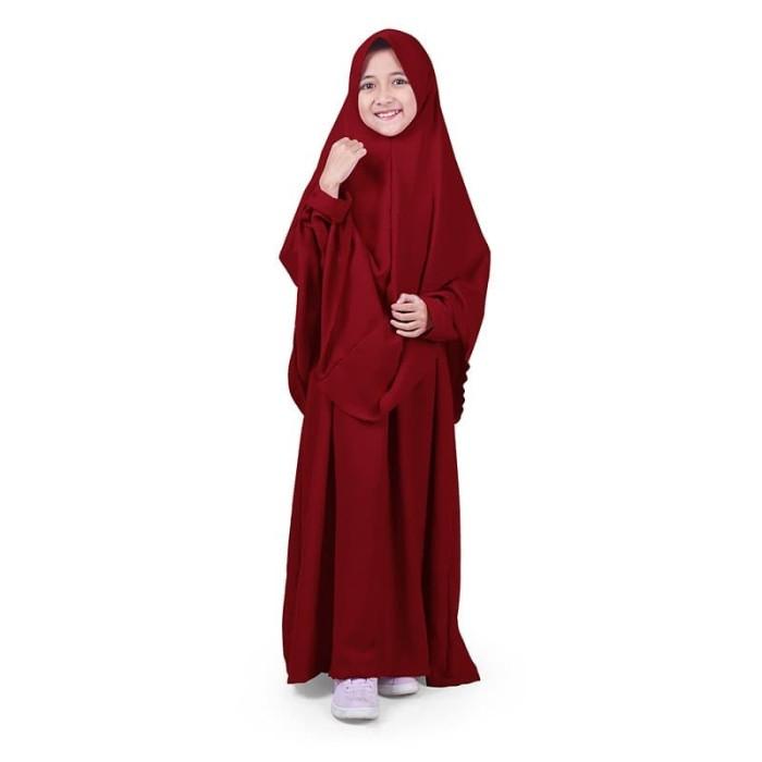 Foto Produk Bajuyuli - Baju Muslim Anak Perempuan Gamis Syar'i Polos Marun WSRN01 - XL dari Bajuyuli
