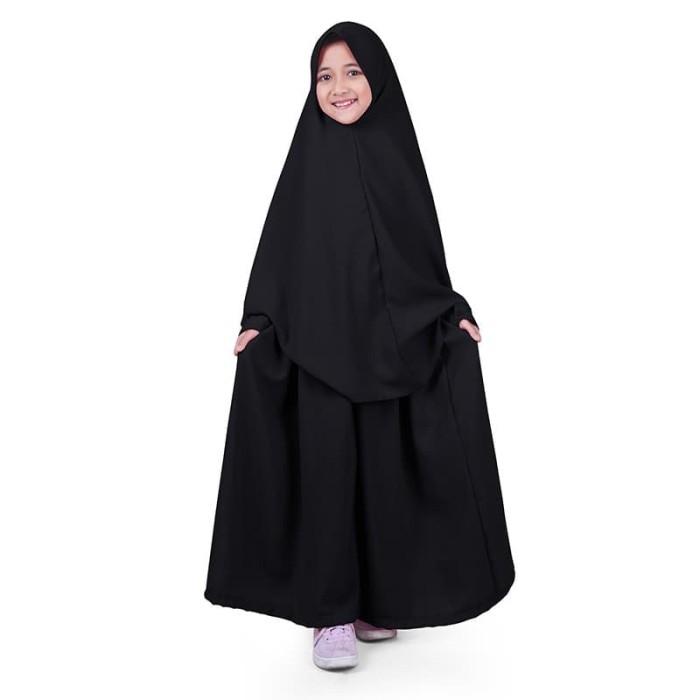 Foto Produk Bajuyuli - Baju Muslim Anak Perempuan Gamis Syar'i Polos Hitam WSBK01 - XS dari Grone