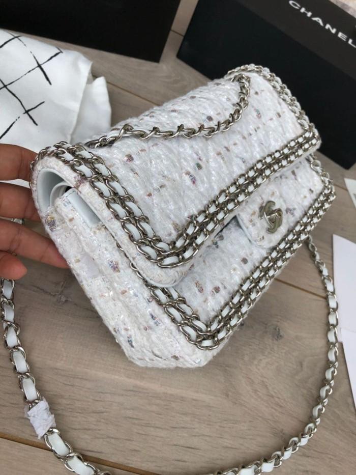 427521a4b5054b Jual Tas Chanel Classic 25 Tweed Double Flap Mirror A1112-1 - Putih ...