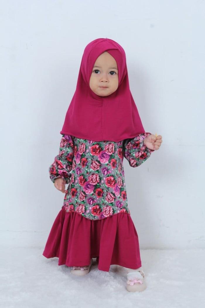 Hawa-Baju Muslim Balita Perempuan 8bulan-2thn / Gamis Anak/ Baju Anak - Orange Biru